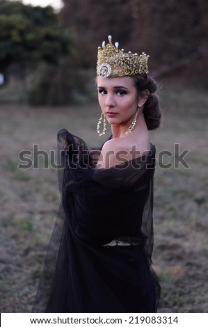 Beautiful young queen in black veil standing outdoors - stock photo
