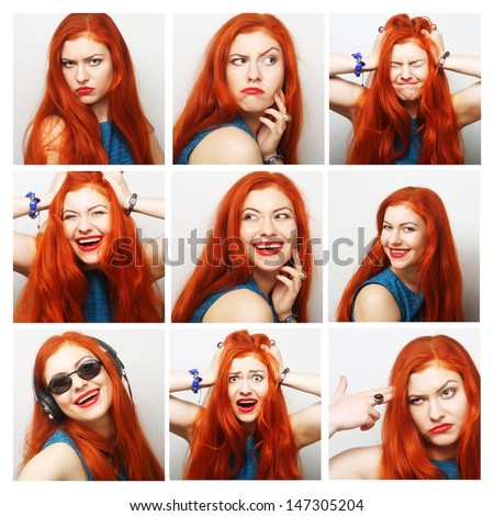 Beautiful Young Redhair Woman Collection of Expression - stock photo