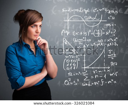 Beautiful young school girl thinking about complex mathematical signs - stock photo