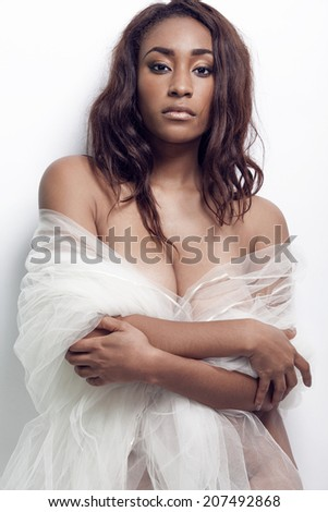 Beautiful young sexy African American woman. - stock photo
