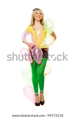 Beautiful young sexy blond girl with balloons - stock photo
