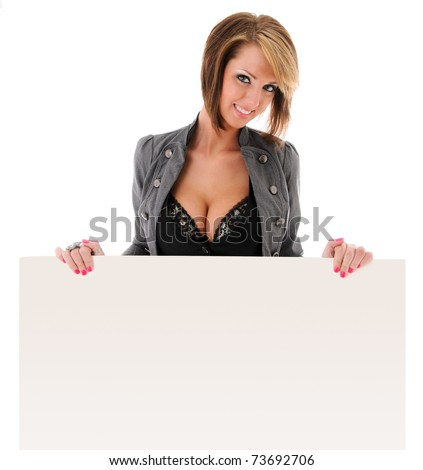 Beautiful young sexy woman holding empty white board