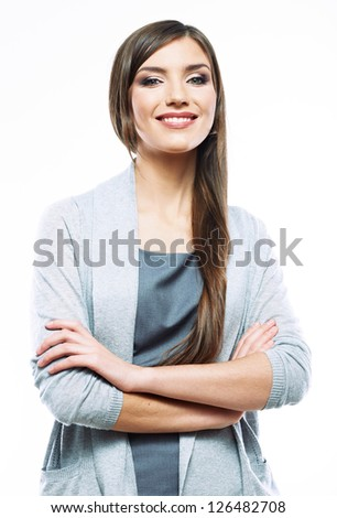 Beautiful young smiling business woman standing against white background. Young female model with long hair.