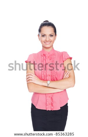 beautiful young smiling business woman standing with hands folded against isolated on white background - stock photo