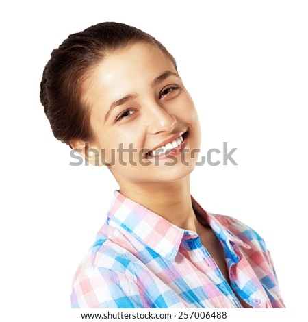 Beautiful Young Smiling Girl. Closeup Portrait. White Healthy Teath. Fun Positive Expression. - stock photo