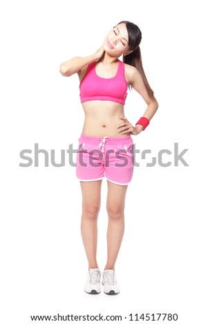 beautiful young sport woman touching her shoulder in full length, isolated against white background, model is a asian girl - stock photo