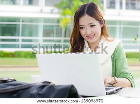 Beautiful young student smiling after interview job success