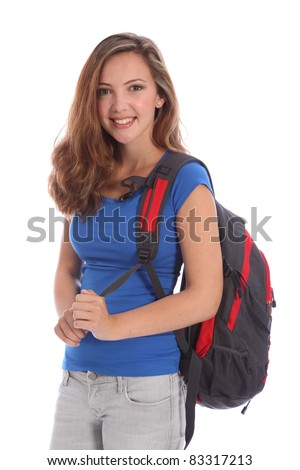 Beautiful young teenager school girl 16, with long brown hair wearing blue t shirt and school backpack with big happy smile. Studio shot against white background. - stock photo
