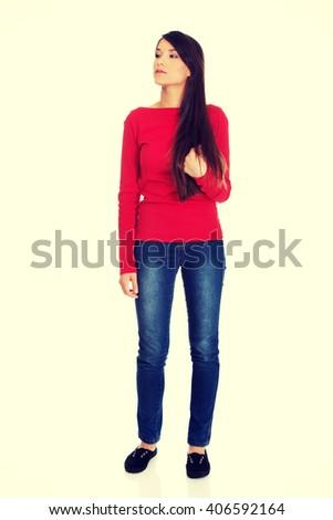 Beautiful young thoughtful student woman.  - stock photo