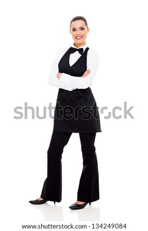 beautiful young waitress full length portrait on white - stock photo