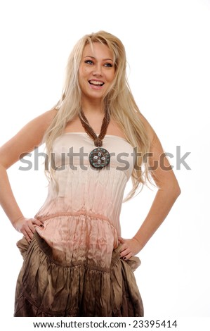 beautiful young woman against white background
