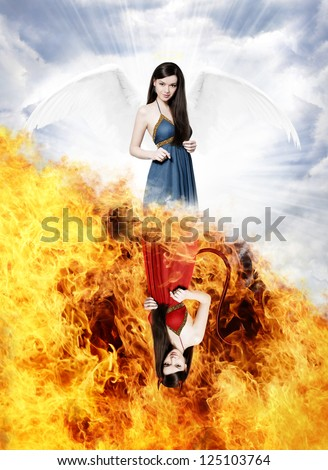 Beautiful young woman as gorgeous angel and sexy devil on half heaven half hell background - stock photo