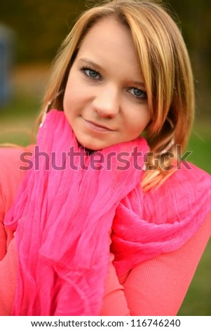 beautiful young woman autumn portrait - stock photo