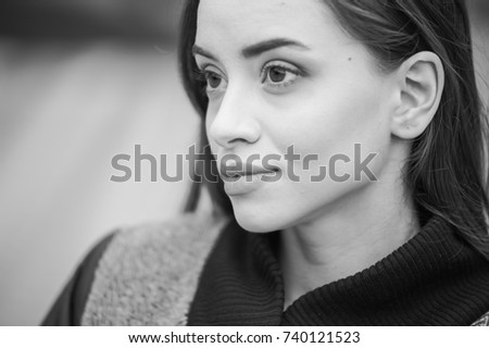Beautiful young woman autumn portrait