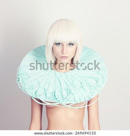 beautiful young woman. bob hairstyle girl.future fashion - stock photo