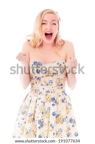 Beautiful young woman celebrating success - stock photo
