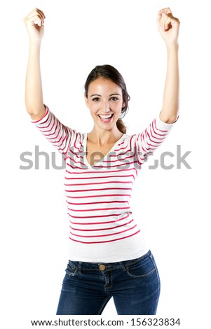 Beautiful young woman celebrating success isolated on white background - stock photo