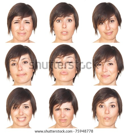 Beautiful Young Woman Collection of Expressions - stock photo