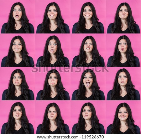 Beautiful Young Woman Collection of Expressions on Fuchsia Background - stock photo