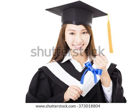 Beautiful  young woman college graduate portrait  - stock photo