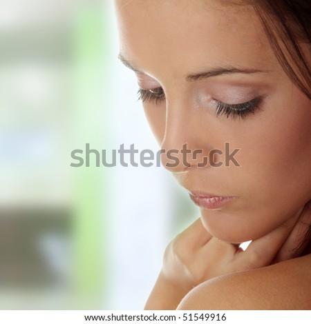 Beautiful young woman , concept of spa, beauty, wellness salon,bath - stock photo