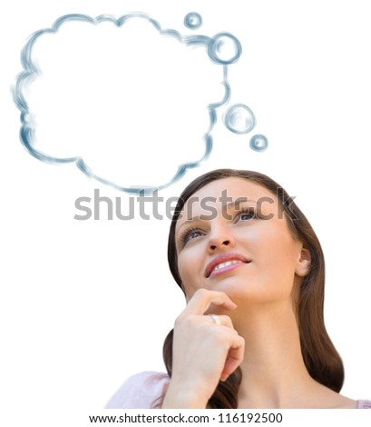 Beautiful young woman daydreaming over white background with finger on chin - stock photo