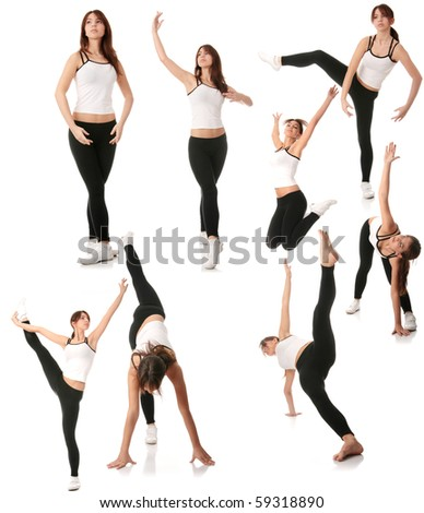 Beautiful young woman doing exercise - stock photo