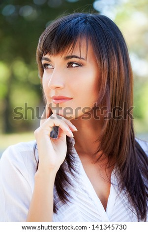 Beautiful Young Woman Dreaming About Love. - stock photo