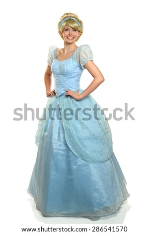 Beautiful young woman dressed in princes costume isolated over white background - stock photo