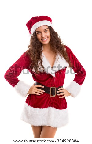 Beautiful young woman dressed with christmas costume, isolated over white - stock photo