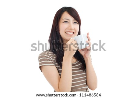 Beautiful young woman drinking coffee. Portrait of asian. - stock photo