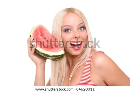 beautiful young woman eat juicy watermelon. over white
