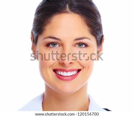 Beautiful young woman face. Dental health. - stock photo