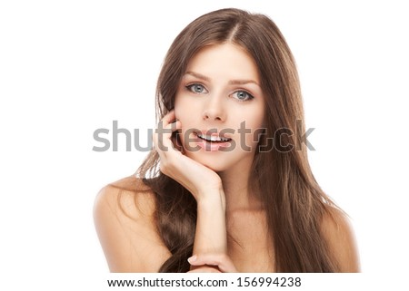 Beautiful young woman face portrait, white background - stock photo