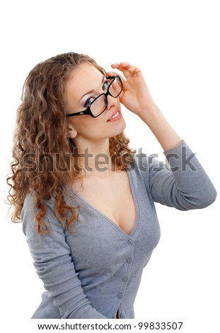 beautiful young woman face with perfect make up looking over glasses over white background