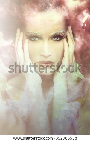 beautiful young woman fantasy portrait composite photo - stock photo