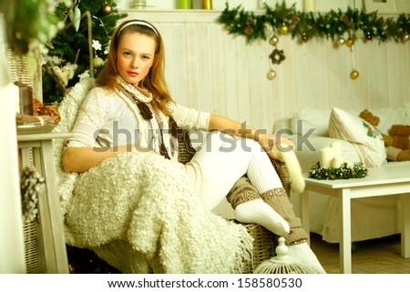 Beautiful young woman fashion model - stock photo