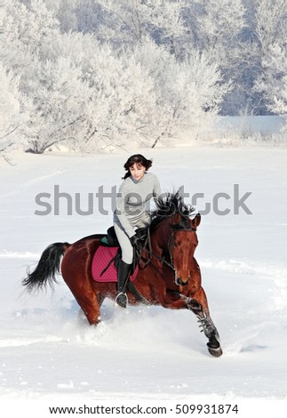 Beautiful young woman galloping horse in the countryside in winter