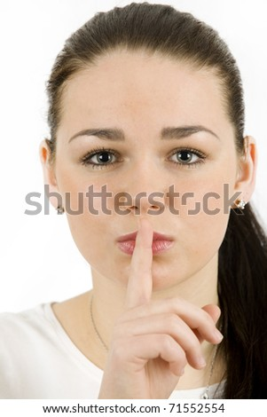 Beautiful young woman , gesture for silence - stock photo