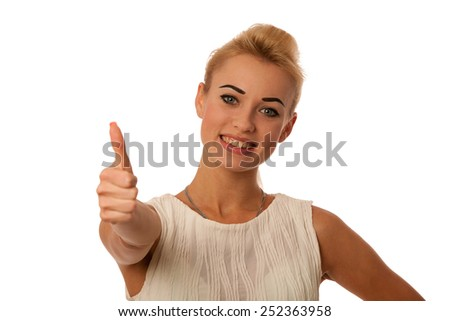 Beautiful young woman gesturing success with thumb up isolated over white - stock photo