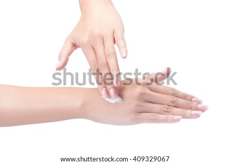 Beautiful young woman hands with cream, isolated on white with clipping path.