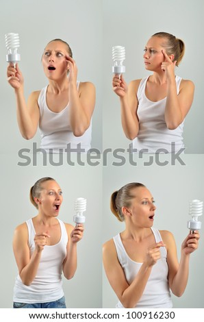 Beautiful young woman having an idea with holding an energy-saving bulb and thinking isolated - stock photo
