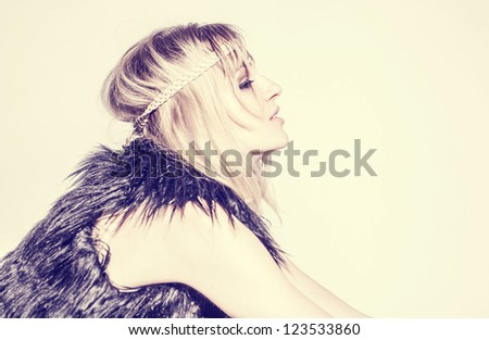 Beautiful young woman hippie on white background - stock photo