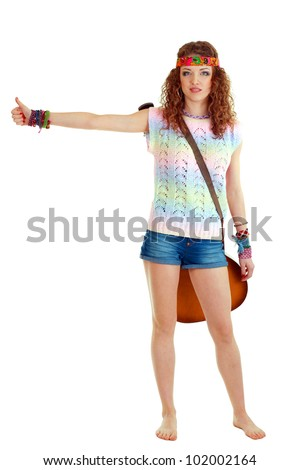 beautiful young woman hitch-hiking, isolated on white