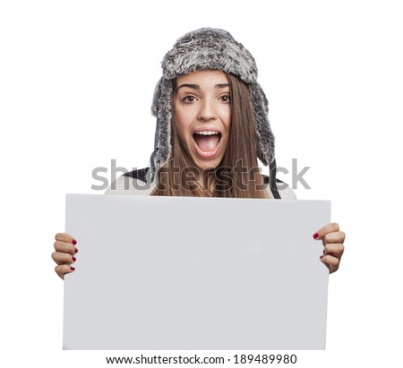 beautiful young woman holding a white banner - stock photo