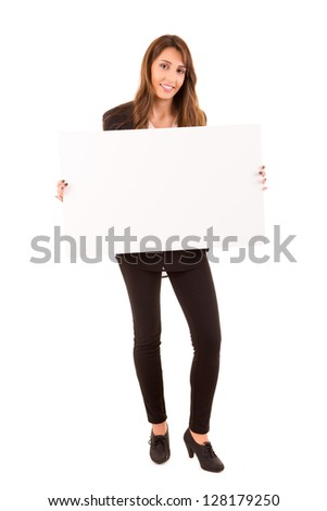 Beautiful young woman holding a white card - isolated over white