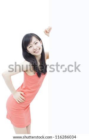 beautiful young woman holding blank billboard, isolated on white background - stock photo