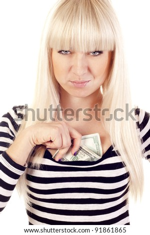 Beautiful young woman holding cash