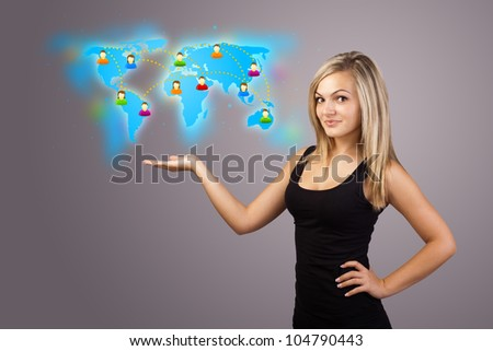 Beautiful Young woman holding virtual map