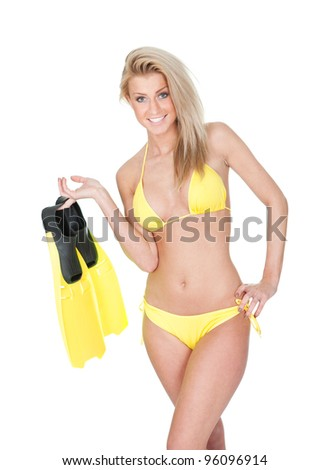 Beautiful young woman in bikini with snorkel. Isolated on white - stock photo